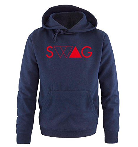 Comedy Shirts - SWAG DELUXE - Uomo Hoodie cappuccio sweater - taglia S-XXL different colors blu navy / rosso
