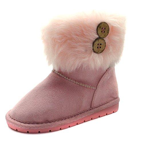 SB121 Studio BIMBI Girls Mid Calf Pull On Baby Boots in Faux Suede >> Stivaletto da Bambina a gamba media senza chiusura, Pink (Rosa), 24