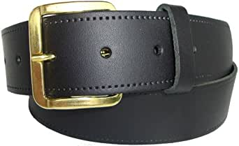 "Plain Leather Belt - Black or Tan - Sizes: 30"" - 46"" - Smooth Grain Coated Leather Finish (30"" - 34"", Black)"