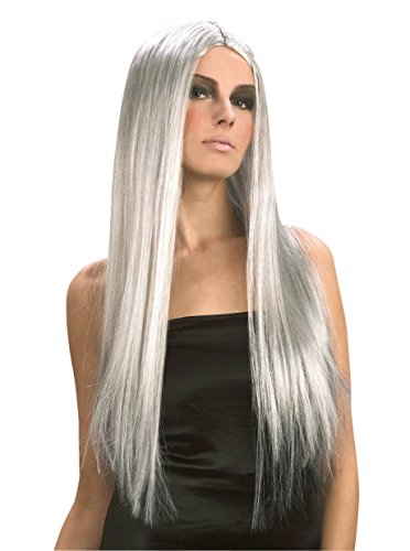 Parrucca lunga grigia da donna per halloween