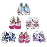 CZC GIFT 6 Paires de Chaussures pour poupées — Chaussures pour poupée de 18 Pouces (Style 6)
