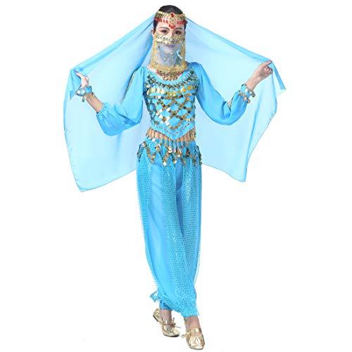 Kostüm Genie Frauen - Magogo Bauchtanz Kostüm Karneval Party Kostüm, Professionelle Leistung Outfit Glänzende Dancewear (Hellblau(8-stück Kit))