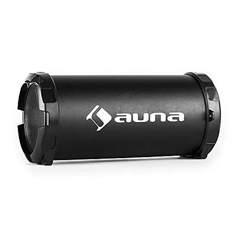 auna • Dr. Beat • Bluetooth 2.1-Lautsprecher • Box • UKW-Tuner • MP3-fähiger USB-Port • SD-Slot • AUX-Eingang zum Anschluss externer Audiogeräte • LED-Display • Subwoofer • Akku-Laufzeit bis zu 5 St. • mini-USB-Ladekabel • Tragegurt • kompakt • schwarz
