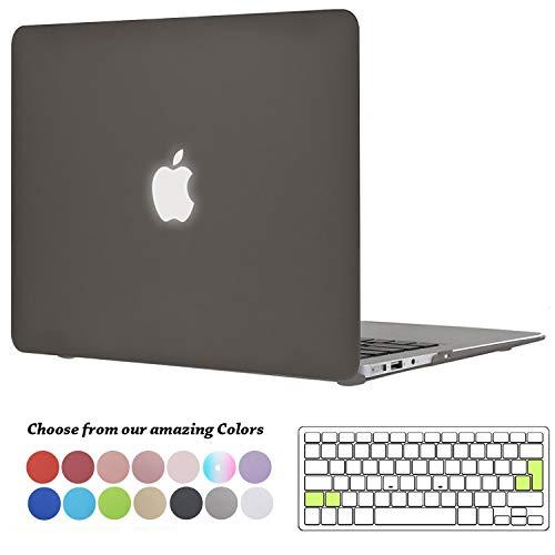TECOOL MacBook Air 13 Hülle, Slim Plastik Hartschale Schale Cover Zubehör mit EU Transparente Tastaturschutz Schutzhülle für Apple 2010-2017 MacBook Air 13.3 Zoll Modell:A1466 / A1369 - Grau