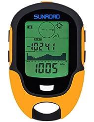 SUNROAD Anself fr500multifunción LCD Digital altímetro barómetro brújula termómetro higrómetro Previsión meteorológica LED Linterna, Naranja, One size