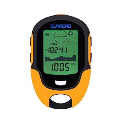 Sunroad FR500barómetro altímetro brújula multifunción Mini pantalla LCD Digital termómetro watch-hygrometer Pronóstico linterna LED impermeable