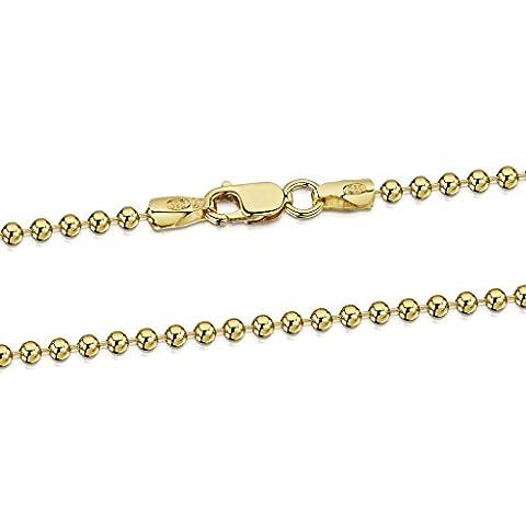 Amberta® Bijoux - Collier - Chaîne Argent 925/1000 - Plaqué Or 18K - Maille Boule - Largeur 2 mm - Longueur 40 45 50 55 60 70 cm (40cm)
