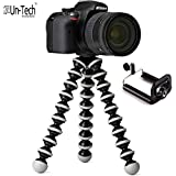 Un-Tech Gorilla Tripod 10 Inch for Mobiles with Mobile Holder & Bluetooth Remote (Black-White)