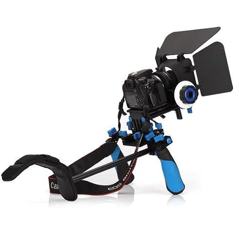 Koolertron® - DSLR Shoulder Mount Rig+Hand Grip Handle+Follow Focus+Matte Box Sunshade +Adjust Platform 15mm Rod Rail Video Movie Kit Combination For DSLR DV HDV HD Camcorder DSLR Canon 550D 500D 600D 1100D 60D 50D 40D 5D 5DII 5DIII Nikon D300 D5100 D3100 D3000 D5000 D90 D7000 D700 J1 V1 Sony A57 A55 A35 NEX7 NEX5N NEXC Video Camera Canon GL1 GL2 XL1 XL1S XL2 XF100 Panasonic HVX200 HVX200A DVX100A DVX100B HPX170 HDC-MDH1 AG-DVC60 HM-C150 Sony DCR-VX2000 HDR-FX1 FX1000 PMW-EX3 PMW-EX1 A1U DCR-VX2100 Z1U PDX10 and so