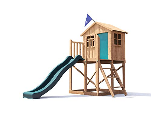 Playhouse Wave Slide Club House Pressure Treated Kids Wooden Play Den Climbing Frame - Lil Lodge�