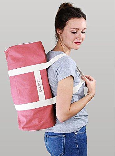 Sporttasche ansvar III aus Bio Baumwoll Canvas - Hochwertige Damen & Herren Sporttasche, Duffle Bag aus 100% nachhaltigen Materialien - mit GOTS & Fairtrade Zertifizierung, Farbe:altrosa - 4