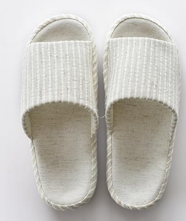 Automne, pantoufles d'intérieur hommes et femmes et chaussons lin rayé ouverture hiver couple Accueil female beige