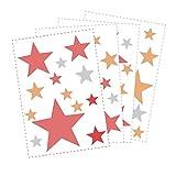 50 Sterne Wandtattoo fürs Kinderzimmer - Wandsticker Set - Pastell Farben, Baby Sternenhimmel zum Kleben Wandaufkleber Sticker Wanddeko - Wandfolie, Kleinkinder, Erstausstattung auf Rauhfaser Rot