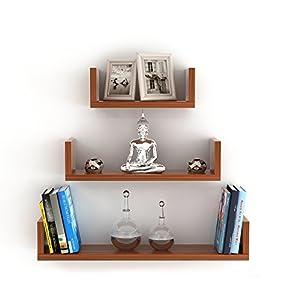 BLUEWUD Caesar Engineered Wood Wall Decor Shelf/Display Rack (Set of 3)