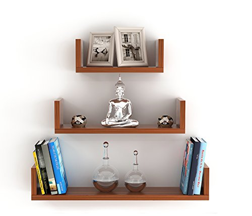 BLUEWUD Caesar Engineered Wood Wall Decor Shelf/Display Rack (Set of 3)