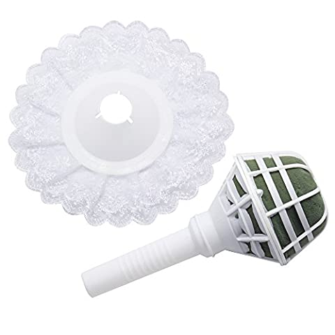 Homgaty 2 In 1 Foam Bouquet Holder with White Lace Collar Bridal Floral Wedding Flowers