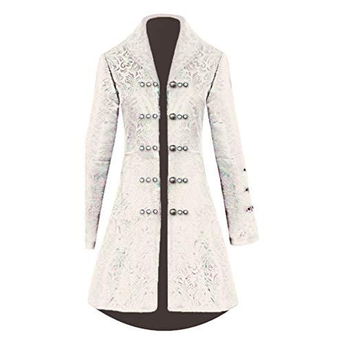 hongxin Damen Gothic Langer Jacke Steampunk Jacquard Gehrock Luxuriös Halloween Palast Königin Vampir Uniform Taille Schnürung Perlen Strickjacke S M L XL XXL