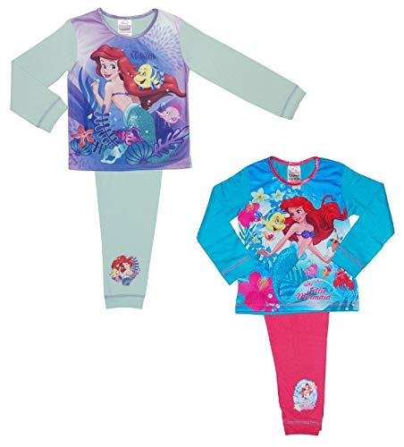 (2 Packung Disney Prinzessin Ariel Mädchen die Kleine Meerjungfrau Schlafanzug - 18 Monate bis 5 - Multi, 3-4 Years (98-104 cms))