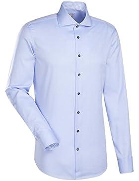 JACQUES BRITT Business Hemd Slim Fit 1/1-Arm Bügelleicht Uni / Uniähnlich City-Hemd Hai-Kragen Manschette weitenverstellbar