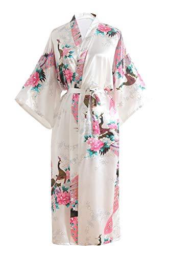 OLESILK Damen Lang Morgenmantel Satin Kimono Kurzarm Robe Bademantel mit Gürtel V-Ausschnitt Nachtwäsche Negligee mit Pfau und Blumen Muster, Weiß (Satin Günstige Roben)