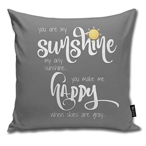 Rasyko - federa decorativa per cuscino con scritta you are my sunshine, colore giallo su grigio con motivo a zigzag, ideale come regalo per casa, divano, letto, auto, 45,7 x 45,7 cm