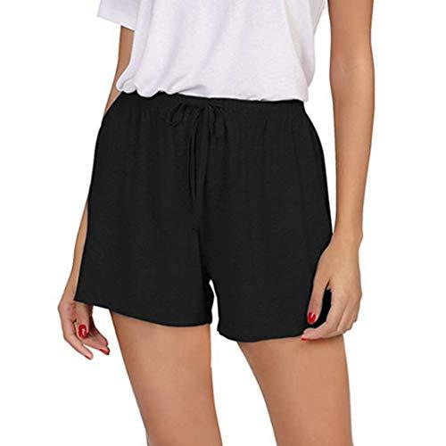 XZDCDJ Shorts Damen Hose kurzen Sommer elegant high Waist Plus Größe Volltonfarbe Hohe Taille Shorts Sport Shorts Yoga Elastische Taille Hosen Trainingshose (Schwarz,XXL) - Klassische Spandex-jeans