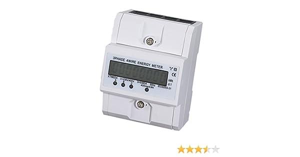 BKAUK 3x5 80A Compteur Electrique KWH Triphase DIN Rail Mount LCD