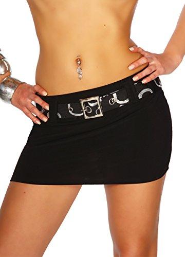 jowiha® Minirock sexy kurz Elasthan mit Gürtel zum abnehmen in 3 Größen 36 38 40 (L 40, Schwarz) (Mini-rock Sexy Fashion)