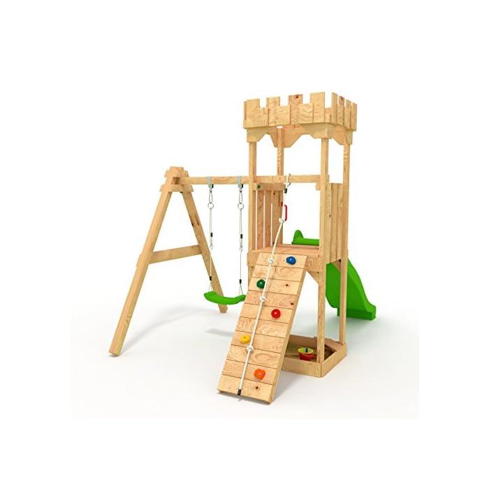 BIBEX Spielturm - Kletterturm - Ritterburg S mit Rutsche, Schaukel, Kletterseil, Klettersteinen 1