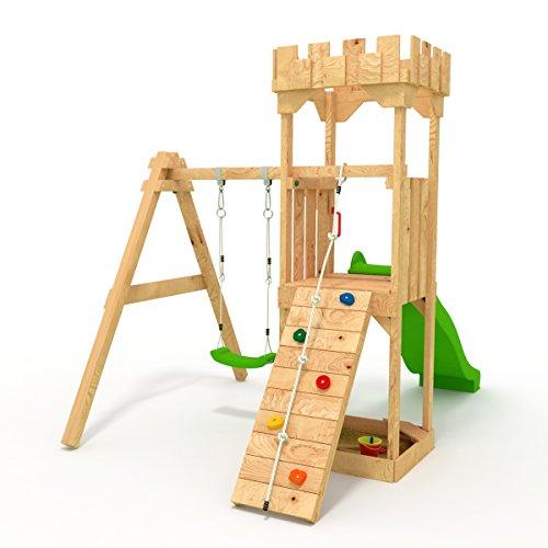 """Spielturm - Kletterturm - Ritterburg \""""S\"""" mit Rutsche, Schaukel, Kletterseil, Klettersteinen von BIBEX (Grün)"""