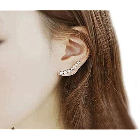 1paio di orecchini placcato orecchini in 925silber orecchini a gancio strass