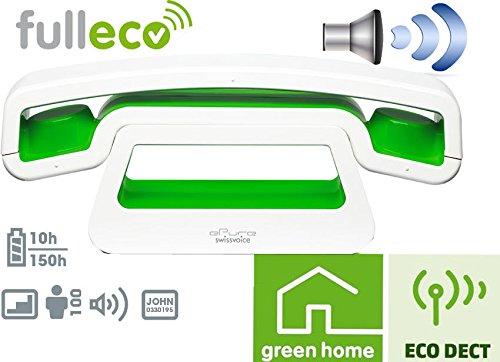 Swissvoice ePure Desing schnurloses Telefon in weiss/grün / Strahlungsarm / ECO DECT / Freisprechfunktion / Wecker