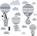 greenluup große Wandsticker umweltfreundliches Wandtattoo Grau Heißluftballons Wolken Tiere Löwe Giraffe Wandsticker Kinderzimmer Babyzimmer (w18)