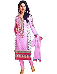 Embroidered Side Floral Print Designer Semi-Stitched Cotton Dress Material  (Free Size) d822b7eb2