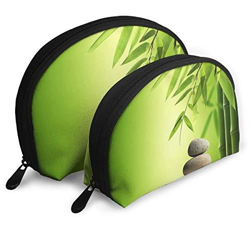 Green Bamboo Zen Photo Shell Portable Bags Clutch Pouch Cosmetic Makeup Bag Pouch 2Pcs Green Shell Snap