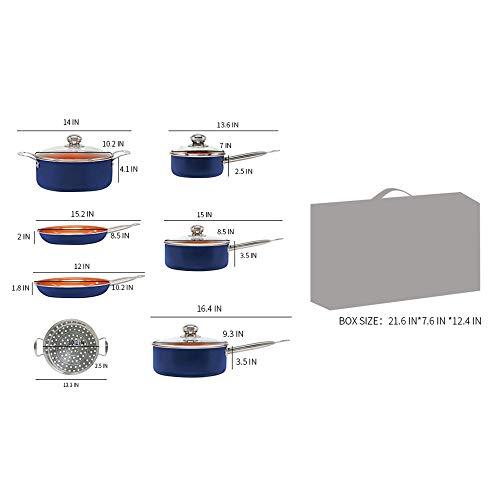 SIMPLE & Co 11 Pezzi di pentole in Rame di Colore Blu, Compresa la Padella Antiaderente con Rivestimento in Ceramica Compatibile - 7
