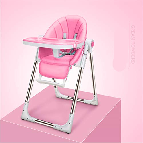 Baby Hochstuhl Leder 5 Verschiedene Höhen Verstellbarer Sitz 3D Verschiedene Positionen Einstellbar Falten Abnehmbare Schale Komfortables Babykissen Blue