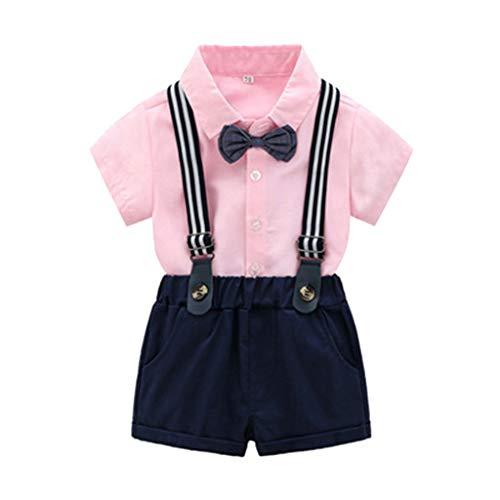 BeautyTop Baby Jungen 2019 Sommer Neu Outfit Set 2Pcs Toddler Kinder Fliege Kurzarm Hemd Tops+ Strap Shorts Kleinkind Gentleman Gut aussehend Kleidungset Zweiteiliges (Rosa, 6-12 Monate)