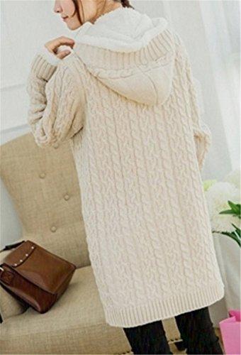 EVERY Epais Hiver Tricot Torsadé Cardigan Tricoté Haut Femme Plus La Taille Câble Manches Longues Pulls Beige