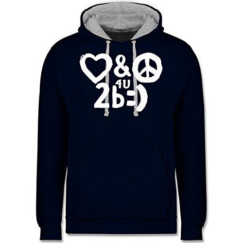 Symbole - Love & Peace for you to be happy - Kontrast Hoodie Dunkelblau/Grau meliert