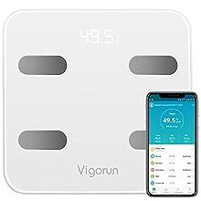 Bilancia Pesa Persona Digitale Vigorun Bilancia Pesapersone Impedenziometrica 17 Dati di Misurazione del Corpo Peso/Muscolo/Massa Grassa/BMI/BMR/Tasso di Proteine/Massa Ossea per IOS e Android…