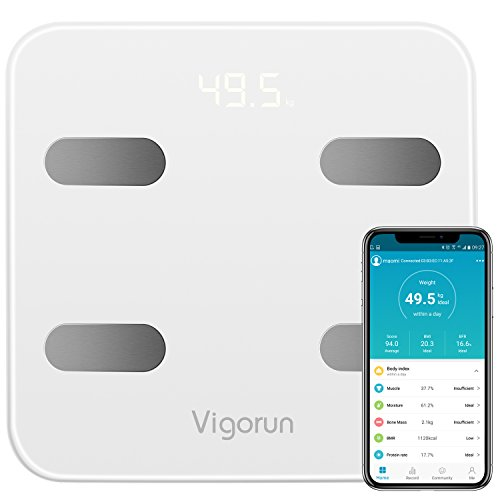 Personenwaage Vigorun Bluetooth Körperfettwaage Digitale Waage mit App und 17 Körperdaten, Körperwaagen für Körperfett, Gewicht, Muskelmasse, BMI, BMR usw./ bis 180kg -