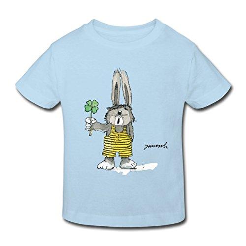 Spreadshirt Janosch Hase Findet Sein Glück Kleeblatt Kinder Bio-T-Shirt, 152 (11-12 Jahre), Hellblau (Glücks Bio-baumwoll-t-shirt)