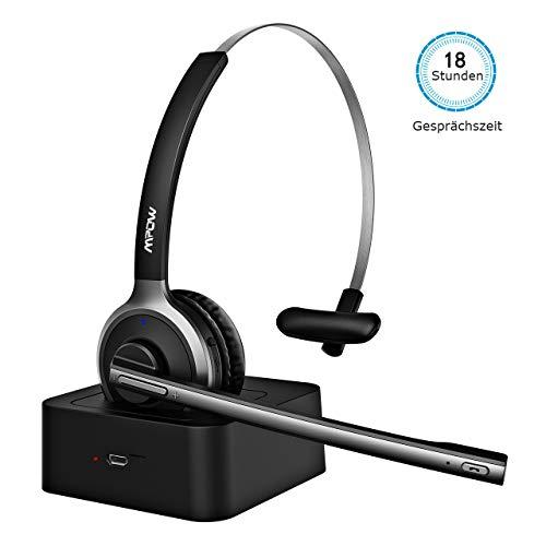 Mpow Bluetooth Headset, Bluetooth Headset mit 180 Stunden Ladestation Stumm-Funktion Chat Headset Bluetooth PC Headset mit Mikrofon LKW-Fahrer Freisprechen Headset für Skype,Call Center, Handys