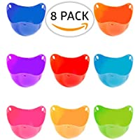 8 Piece Egg Poacher Silicone Set for Making Poached Eggs, Premium Thick Silicone Egg Poachers in 8 Bright Colours.