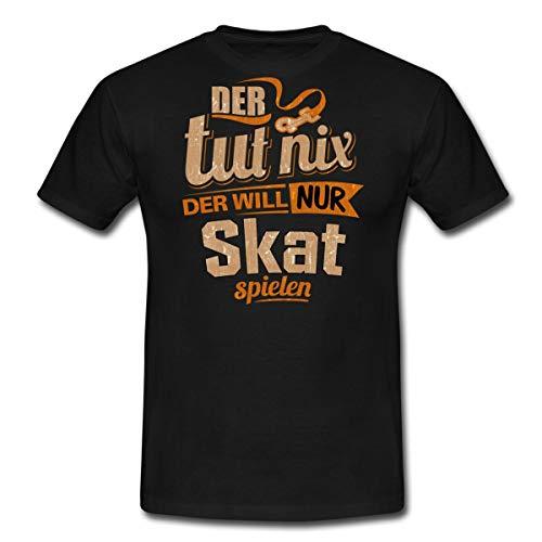 Spreadshirt Der TUT Nix Der Will Nur Skat Rahmenlos Herren Sportart Sports Fun Design Shirt Männer T-Shirt, XL, Schwarz
