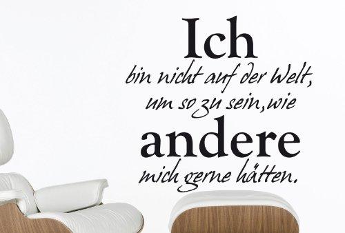 Preisvergleich Produktbild Wandtattoo Ich bin nicht auf der Welt... - Arbeitszimmer - W201 (58x55 cm) schwarz