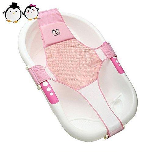 Middletone Newborn Baby Bath Seat Support Net Bathtub Sling Shower Mesh Bathing Cradle Rings for Tub (pink)