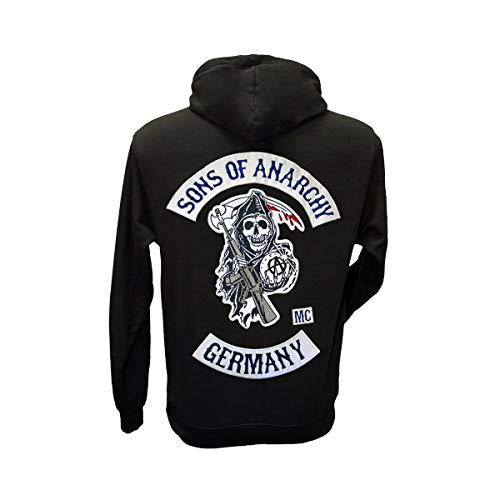 Sons of Anarchy Germany Kapuzenpullover mit originalgetreuen, aufgestickten Aufnähern, Größen S bis 3XL (L) (Sons Of Anarchy Herren Hoodie)