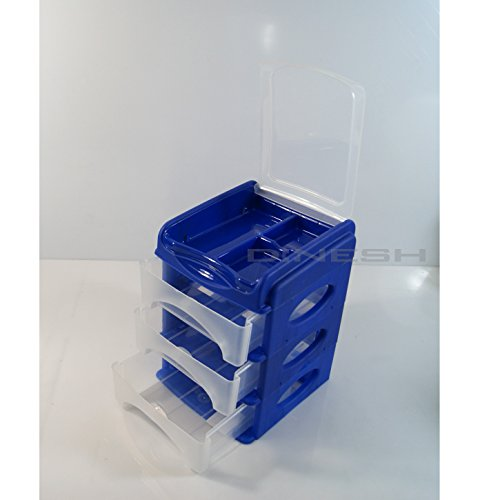 (976) SCHUBLADENBOX QUADRIX Aufbewahrungsbox Ordnungsbox (Blau)